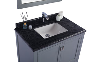 "LAVIVA Wilson Collection 36"" Single Bath Vanity in Grey and 20"" Undermount Rectangular Porcelain Sink"