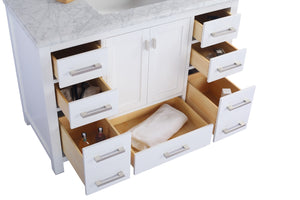 "LAVIVA Wilson Collection 48"" Single Bath Vanity in White and 20"" Undermount Rectangular Porcelain Sink"