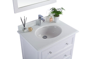 "LAVIVA Luna Collection 30"" Single Bath Vanity in White and 20"" Undermount Porcelain Sink"