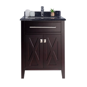 "LAVIVA Wimbledon Collection 24"" Single Bath Vanity in Brown and 20"" Undermount Rectangular Porcelain Sink"