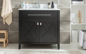 "LAVIVA Wimbledon Collection 36"" Single Bath Vanity in Espresso and 20"" Undermount Rectangular Porcelain Sink"