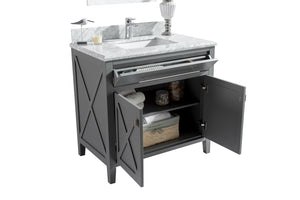 "LAVIVA Wimbledon Collection 36"" Single Bath Vanity in Grey and 20"" Undermount Rectangular Porcelain Sink"