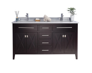 "LAVIVA Wimbledon Collection 60"" Double Bath Vanity in Brown and Two 20"" Undermount Rectangular Porcelain Sinks"