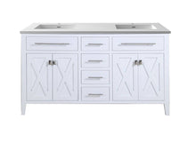 "Load image into Gallery viewer, LAVIVA Wimbledon Collection 60"" Double Bath Vanity in White and Two 20"" Undermount Rectangular Porcelain Sinks"