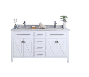 "LAVIVA Wimbledon Collection 60"" Double Bath Vanity in White and Two 20"" Undermount Rectangular Porcelain Sinks"