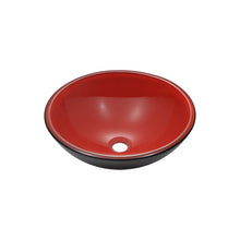 Load image into Gallery viewer, Polaris P606 Round Red/Black Double Layer Bathroom Vessel Sink and Waterfall Faucet Ensemble