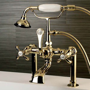 Aqua Vintage French Country Deck Mount Clawfoot Tub Faucet with Cross Handles