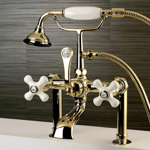 Aqua Vintage Vintage Deck Mount Clawfoot Tub Faucet with Porcelain Cross Handles