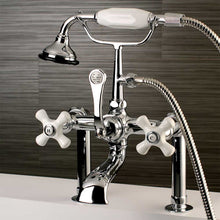 Load image into Gallery viewer, Aqua Vintage Vintage Deck Mount Clawfoot Tub Faucet with Porcelain Cross Handles