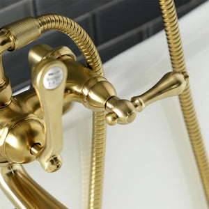 Kingston Brass Aqua Vintage Deck Mount Clawfoot Tub Faucet with Hand Shower