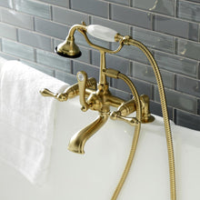 Load image into Gallery viewer, Kingston Brass Aqua Vintage Deck Mount Clawfoot Tub Faucet with Hand Shower