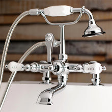 Load image into Gallery viewer, Aqua Vintage Clawfoot Tub Faucet with Hand Shower with Porcelain Handles