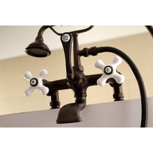 Load image into Gallery viewer, Kingston Brass Vintage Deck Mount Tub Filler with Porcelain Cross Handles