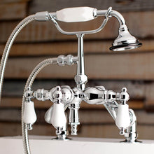 Load image into Gallery viewer, Kingston Brass Aqua Vintage Adjustable Porcelain Handle Deck Mount Clawfoot Tub Faucet with Hand Shower