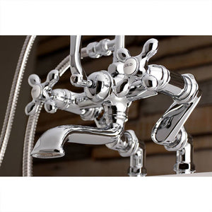 Aqua Vintage Deck Mount Clawfoot Tub Faucet with Cross Handles and Hand Shower