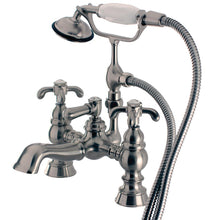 Load image into Gallery viewer, Kingston Brass Vintage 7-Inch Deck Mount Tub Faucet with Cross Handles and Hand Shower