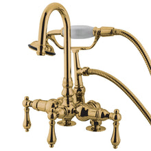 Load image into Gallery viewer, Kingston Brass Vintage 3-3/8″ Deck Mount Lever Handle Tub Filler with Hand Shower