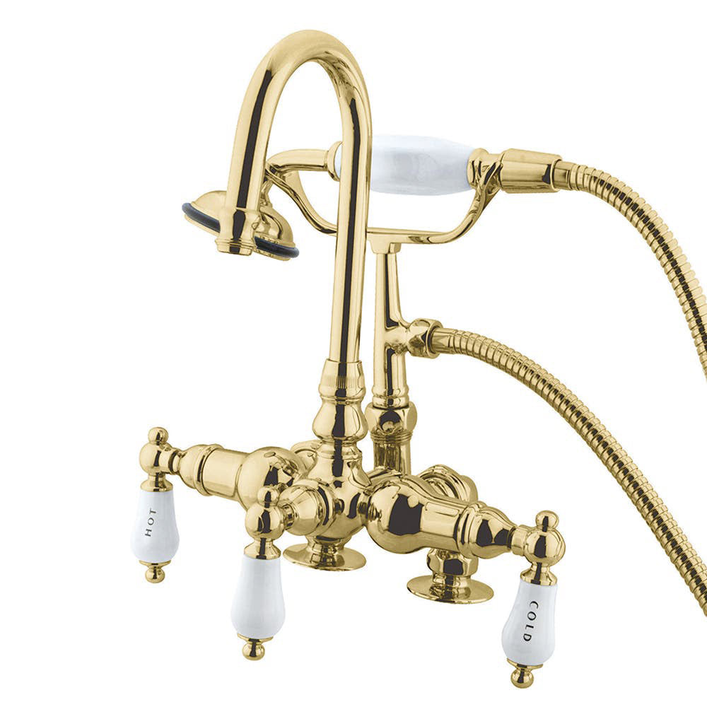 Kingston Brass Vintage 3-3/8″ Deck Mount Tub Filler with Porcelain Handles