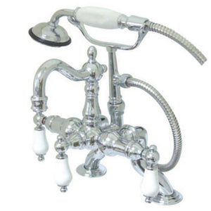 Kingston Brass Deck Mount Clawfoot Tub Filler Faucet with Porcelain Handles and Handshower