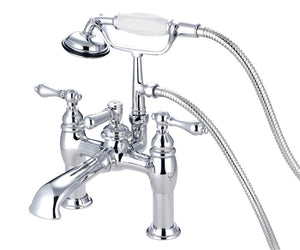 Kingston Brass Vintage 7″ Deck Mount Tub Filler with Lever Handles and Hand Shower