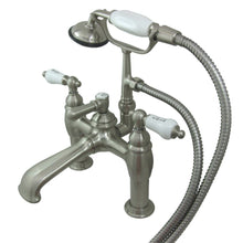 Load image into Gallery viewer, Kingston Brass Vintage 7″ Deck Mount Tub Filler with Porcelain Handles and Hand Shower