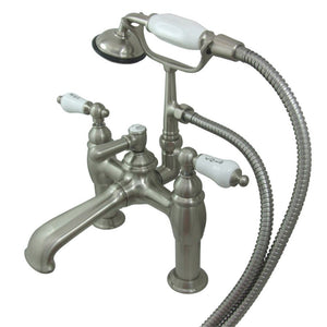 Kingston Brass Vintage 7″ Deck Mount Tub Filler with Porcelain Handles and Hand Shower