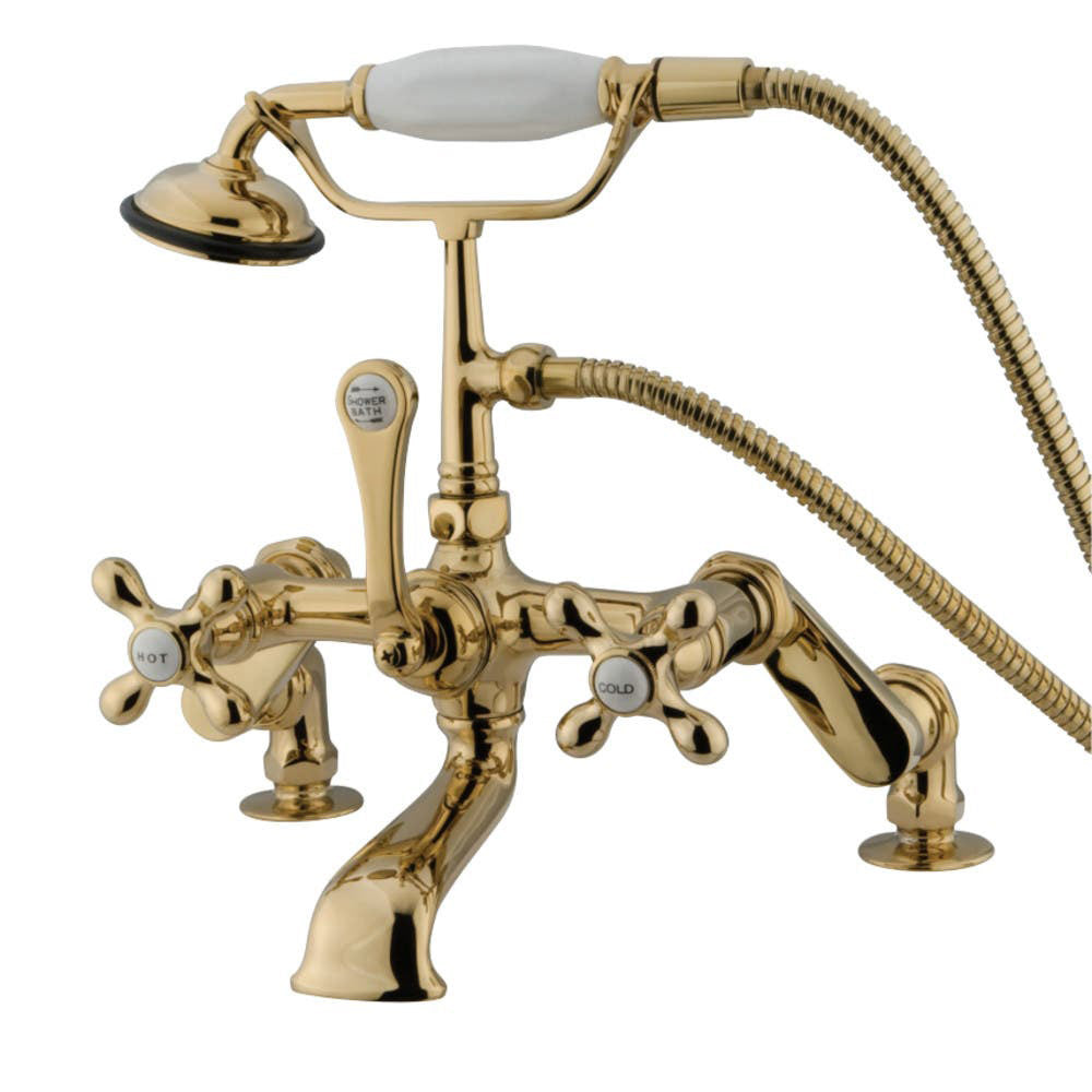 Kingston Brass Vintage Deck Mount Tub Filler with Cross Handles and Adjustable Centers
