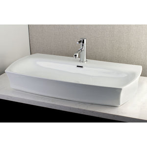 "Kingston Brass Fauceture Charlotte Elongated 35"" x 18"" Rectangular White Vessel Sink"