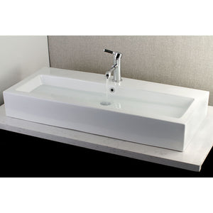 "Kingston Brass Fauceture Anne Elongated 39"" x 17"" Rectangular White Vessel Sink"