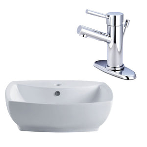 Kingston Brass Wash Basin and Single-Lever Handle Faucet Combo in White/Polished Chrome
