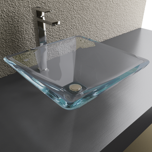Cantrio Koncepts Starfire Glass Pyramid Vessel Sink - Tempered Glass