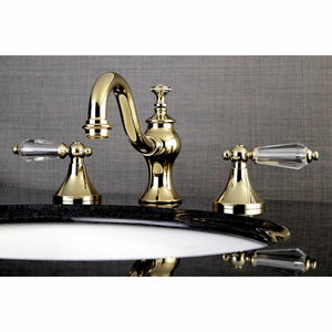 Kingston Brass Wilshire 8 in. Widespread Crystal Handle Bathroom Faucet