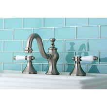 Load image into Gallery viewer, Kingston Brass Bel-Air 8 in. White Porcelain Lever Handle Widespread Bathroom Faucet