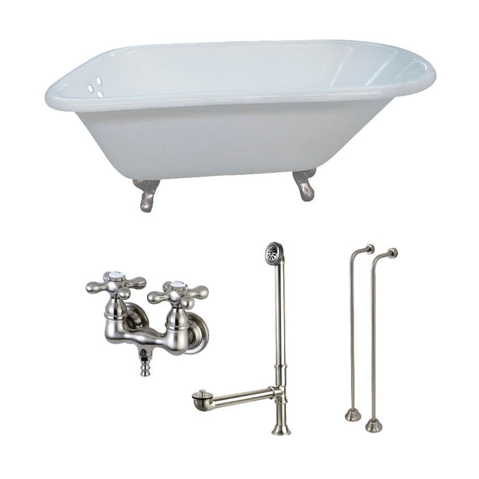 Kingston Brass Aqua Eden 54-Inch Cast Iron Roll Top Clawfoot Tub Combo with Faucet and Supply Lines