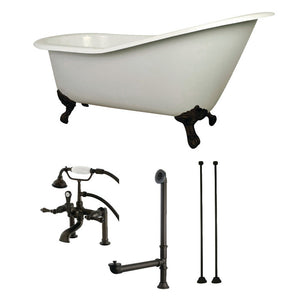 Kingston Brass Aqua Eden 62-Inch Cast Iron Single Slipper Clawfoot Tub Combo with Faucet and Supply Lines