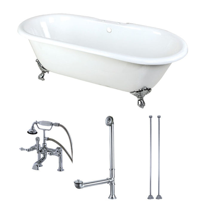Kingston Brass Aqua Eden 66-Inch Cast Iron Double Ended Clawfoot Tub Combo with Faucet and Supply Lines