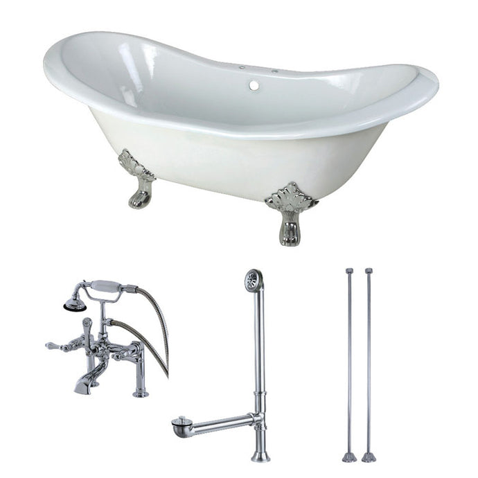 Kingston Brass Aqua Eden 72-Inch Cast Iron Double Slipper Clawfoot Tub Combo with Faucet and Supply Lines