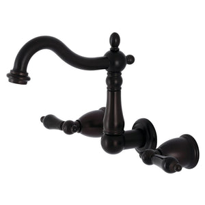 Kingston Brass Duchess Two-Handle Wall Mount Bathroom Faucet with Black Porcelain Lever Handles