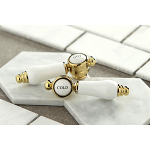 Kingston Brass Bel-Air Two-Handle Bathroom Faucet with Brass Pop-Up and Cover Plate