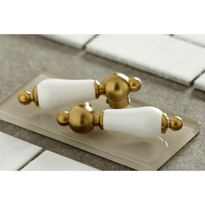 Kingston Brass Heritage Porcelain Lever Two-Handle Bathroom Faucet with Brass Pop-Up and Cover Plate