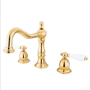 Kingston Brass Heritage 8 to 16 in. Widespread Bathroom Faucet with Porcelain Handles