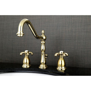 Kingston Brass French Country 8 in. Widespread Traditional Bathroom Faucet with Cross Handles