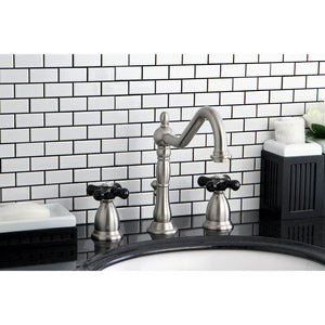 Kingston Brass Duchess 8 in. Widespread Bathroom Faucet with Black Cross Handles