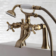 Load image into Gallery viewer, Kingston Brass Essex 2-Handle Deck Mount Clawfoot Tub Faucet with Hand Shower