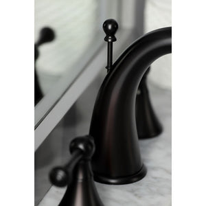 Kingston Brass English Country 8 in. Widespread Bathroom Faucet with Brass Pop-Up Drain