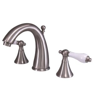 Kingston Brass Naples 8 in. Widespread Bathroom Faucet with Porcelain Handles