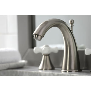 Kingston Brass Naples 8 in. Widespread Cross Handle Bathroom Faucet