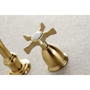 Kingston Brass Hamilton Wall Mount Bathroom Faucet with Cross Handles