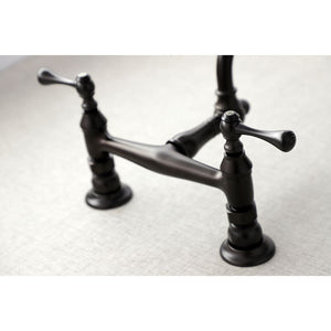 Kingston Brass Vintage Wall Mount Bathroom Faucet with Dual Levers