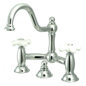Kingston Brass Restoration Bathroom Bridge Faucet with Porcelain Cross Handles